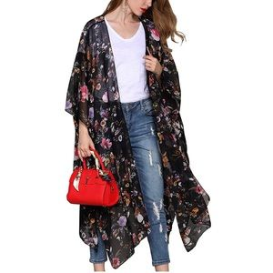 Printed Kimono Cardigan Sheer Top Loose Blouse